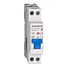 Întreruptor automat AMPARO, 4,5kA, C16A, 1P+N, 1modul, Schrack