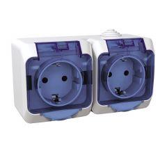 Priza dubla Schuko cu capac transparent, IP44, Alb, Schneider Electric Cedar Plus