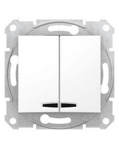Intrerupator dublu cu LED, 10AX, alb, fara rama, Schneider Sedna