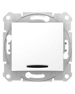 Intrerupator simplu cu LED, fara rama, alb, Schneider Sedna